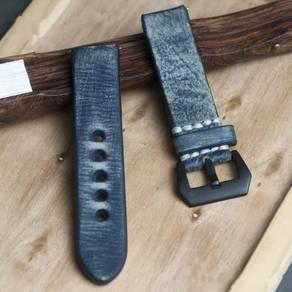 STRAPSCO Navy Blue Distressed Leather Watch Strap