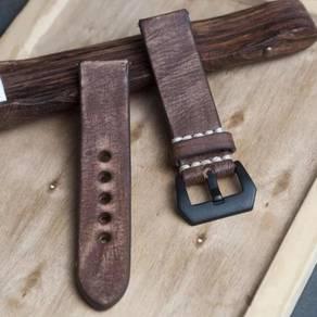 STRAPSCO Coffee Distressed Leather Watch Strap