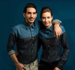 Baju Kemeja Korporat Lelaki Denim Uniform