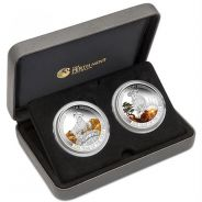 Lunar good fortune 2015 goat 1oz silver 2-coin set