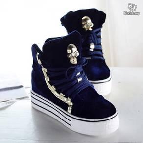 High top shoes velvet female Skull