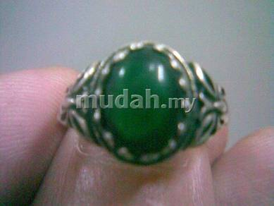 ABRSM-O001B Green Round Onyx Silver Metal Ring Sz8