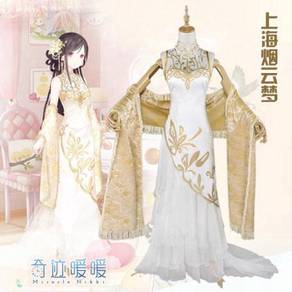 Gold white fishtail cosplay costume dress medieval