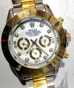Jam Old school 3 subdial half gold watch