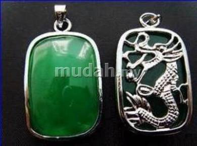 ABPJ-D044 Green Jade Dragon Pendant Chain Necklace