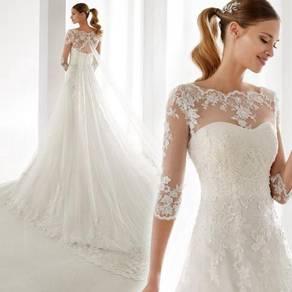 White long sleeve wedding bridal dress RB2118
