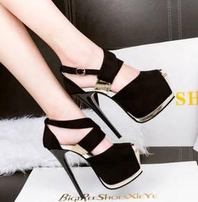 Black high heels party clubbing peep toe stiletto