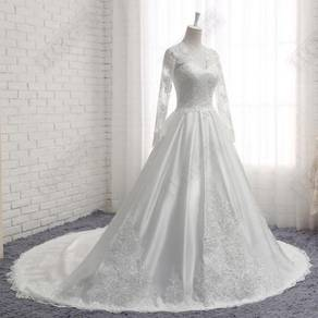 White long sleeve wedding bridal dress gown RB1656