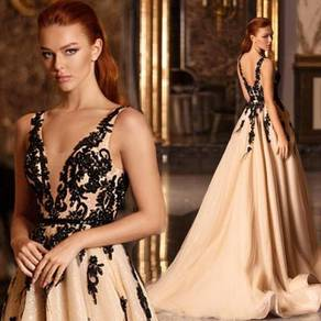 Cream black prom wedding bridal dress gown RBP1505