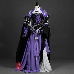 Purple black cosplay costume gaming dress RB0433