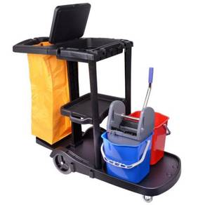 Janitor cart cw double bucket - complete set