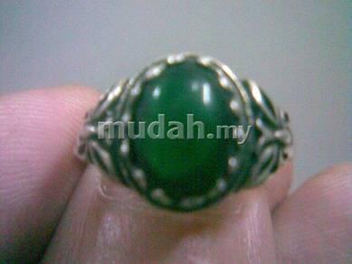 ABRSM-O001B Green Round Onyx Silver Metal Ring Sz9