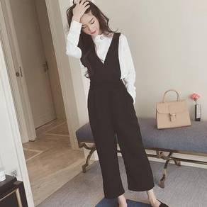 Black sleeveless jumpsuit office formal OL soft