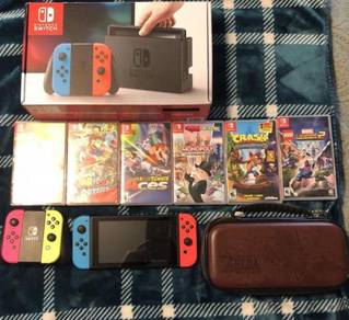 Nintendo Switch - 32GB Gray Console (with Neon Red