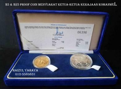 1 set RM5 & RM25 Proof Coin - CHOGM 1989