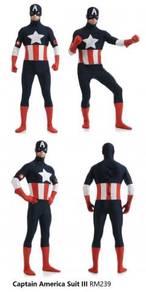 Captain America Costume Suit Light Dark Full Blue