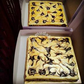 Marble cheese brownies chocolate/blueberry