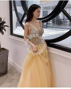 Yellow wedding evening prom dress gown RBP1026
