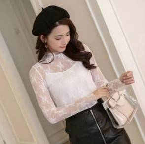 Long SleeveTransparent Lace Blouse