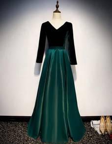 Green velvet long sleeve prom wedding dress RBP150