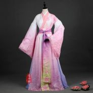 Pink long sleeve kimono cosplay costume dress