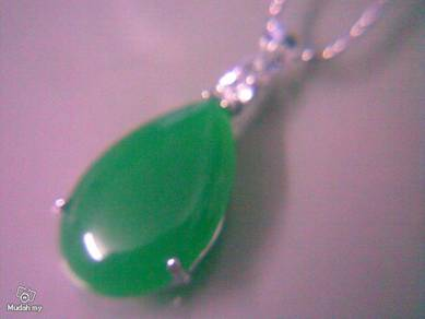 ABPJ-W003 Water Drops Jade Crystal Silver Necklace