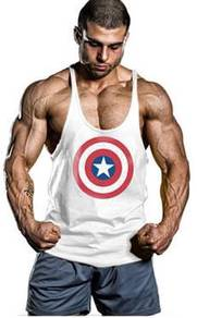 Captain America Gym Singlet baju fitness gym white