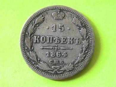 Russia 15 Kopeks 1864 [Kod : A1305]