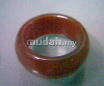 ABRJ-R002 Red Natural Jade Ring - Size 10.5 - 10mm