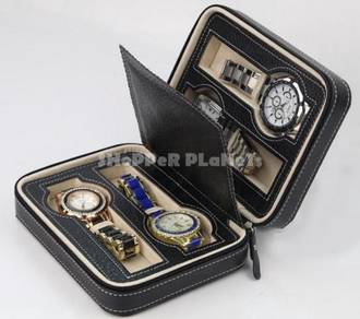4-Slots Portable Zip PU Watch Pouch Case Casing Bo