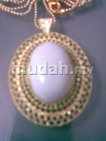 ABPGM-E004 Golden Metal Elliptical White Necklace