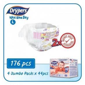 4 x Drypers Wee Wee Dry L44 (176's)
