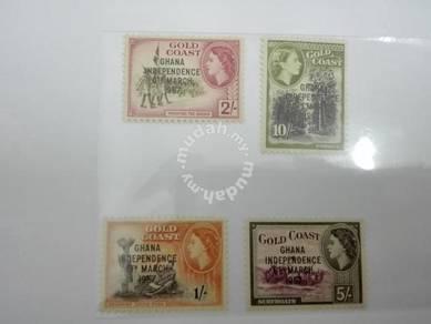 (RB 110) 1957 Gold Coast QE II Stamps x 4 - MNH