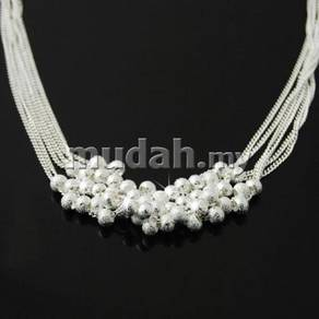 ABPS9-B001 Silver 925 Womens Bead Ball Necklace