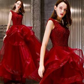 Red silver maroon wedding dress gown RB1107