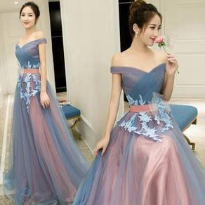 Blue pink wedding evening prom gown RBP1033