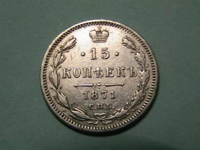 Russia 15 Kopeks 1871 [Kod : A1307]