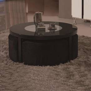 Black Round Coffee Table With Seating YGT-9513B KL