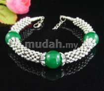 ABBSB-G005 Beautiful Green Beads Silver Bracelet