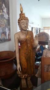 Aipj wood carving antique style Thai buddha
