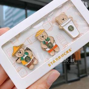 Starbucks Taiwan 2018 CJ Farmer Bear Pin Set