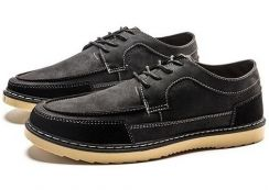 M0238 Black Retro Business Casual Dock Boat Shoes