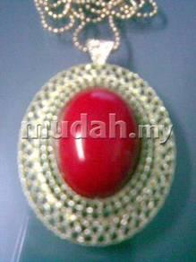 ABPGM-E001 Golden Metal Elliptical Red Necklace FS