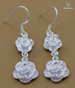 ABESM-P001 Silver Double Plum Flowers Earring