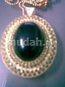 ABPGM-E003 Golden Metal Elliptical Black Necklace
