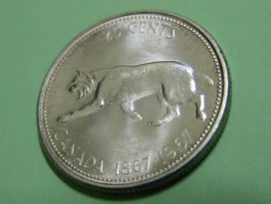Canada 25 Cents 1967 (AU Excellent) [Kod : A2126]