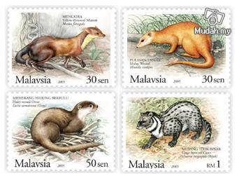 Mint Stamps Protected Mammals Malaysia 2005