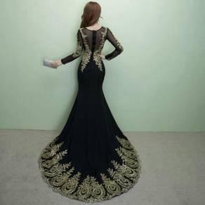 Muslimah black Wedding bridal prom dress RBMWD0031