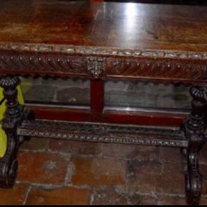 Antique carved oak Gothic Revival display table