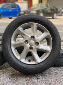 Original 14 inch sports rim myvi se 1.5 tyre 70%